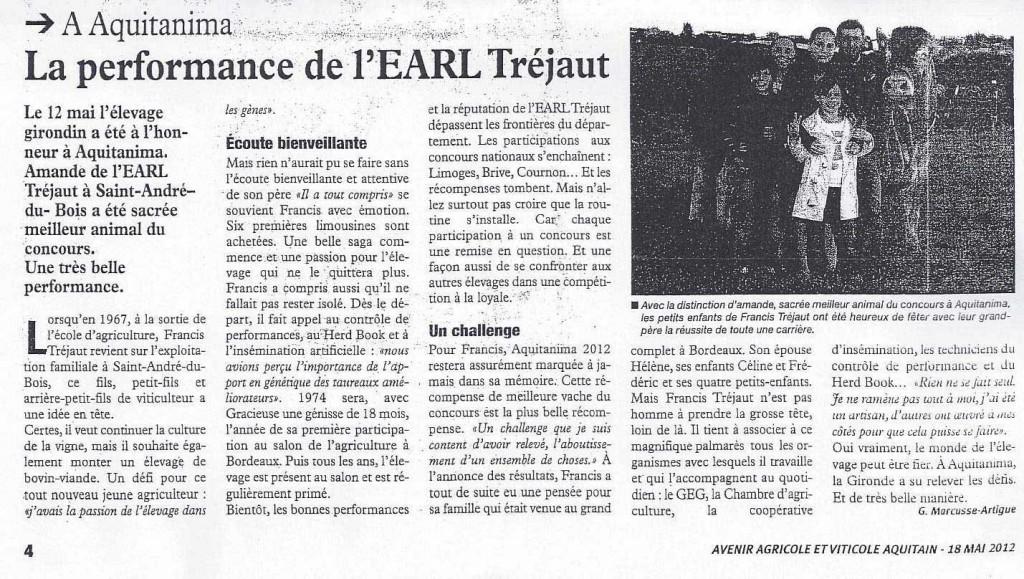 Avenir Aquitain du 18 mai « la performance de l'EARL Tréjaut »