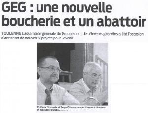Juillet 2011, « Une nouvelle boucherie et un abattoir… »