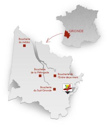 Carte des boucheries de Gironde