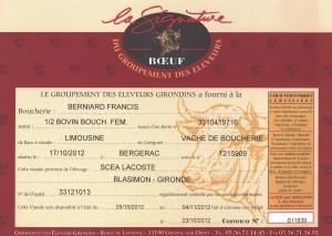 Certificat de provenance Boeuf Eleveurs Girondins
