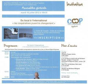 Programme AG Coop de France 10 juillet 2012