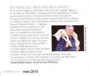 article sur l'agneau de Pauillac - Sud Ouest Gourmand mars 2013