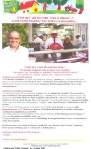 """communication des """"Petits Cageots"""" du 11 mars 2013 sur les éleveurs girondins"""