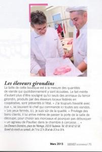 article sur les Eleveurs Girondins - Sud Ouest Gourmand mars 2013