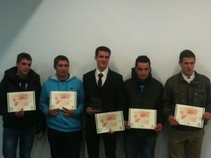 Les cinq apprentis-bouchers pour le concours du meilleur apprenti d'Aquitaine