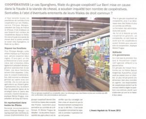 Tirer les conséquences du cas Spanghéro - Avenir Aquitain 15 mars 2013