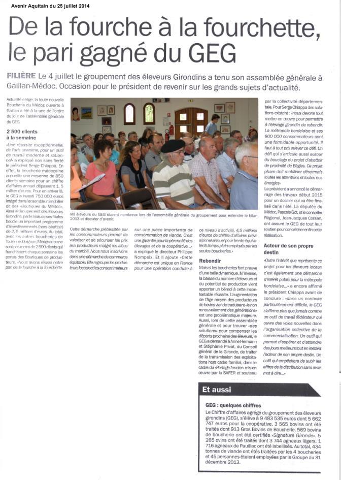 assemblée générale du GEG - Avenir Aquitain 25 juillet 2014